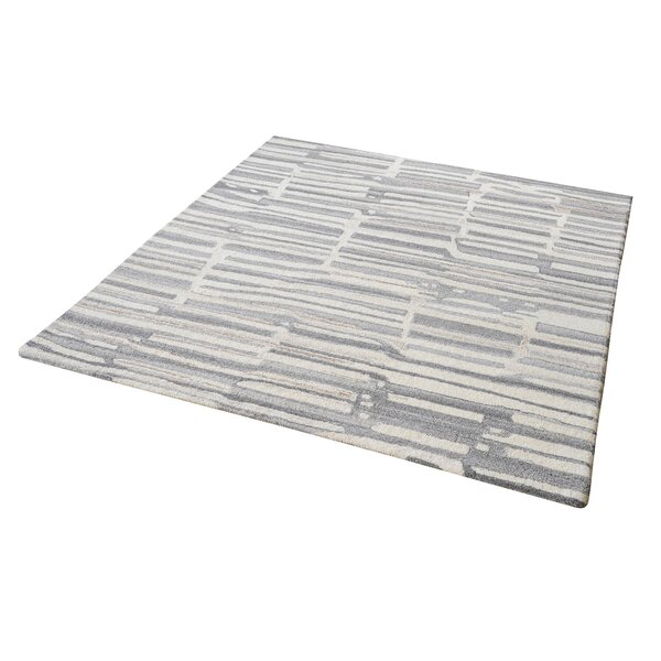 Foxborough Hand-Tufted Gray/White Area Rug by Williston Forge