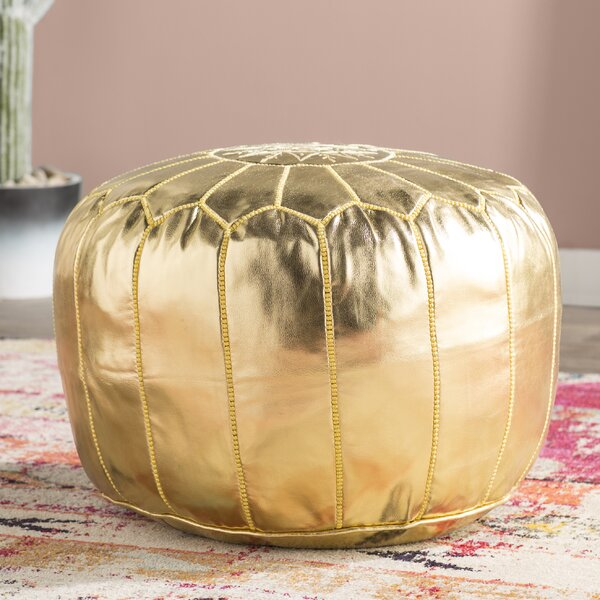 Clarkdale Leather Pouf by Mistana