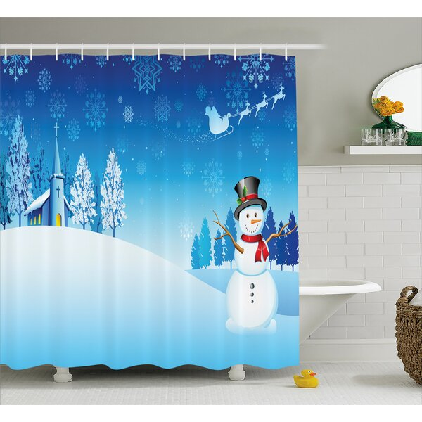 Christmas Snowman Church Stars Shower Curtain by The Holiday Aisle