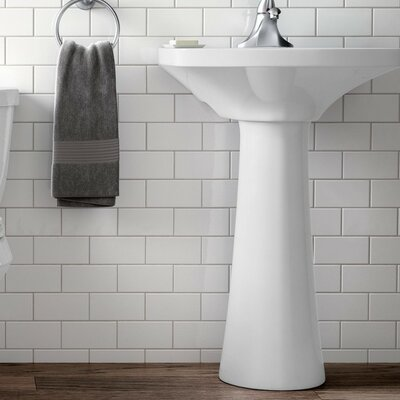 Pedestal Sink Ceramic Overflow Faucet Mount Single photo