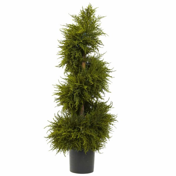 Cedar Spiral Topiary with Light in Planter by Nearly Natural