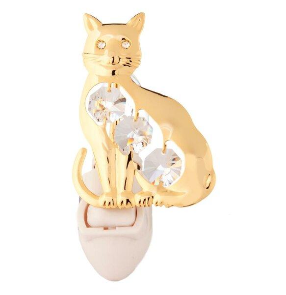 24K Gold Plated Kitty Cat Night Light by Matashi Crystal