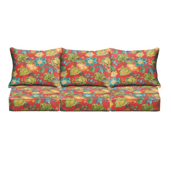 Red Floral Pillow Indoor/Outdoor Sofa Cushion by Bay Isle Home