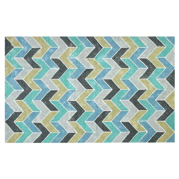 Hosler Hand-Tufted Blue/Green Indoor/Outdoor Use Area Rug by Wrought Studio