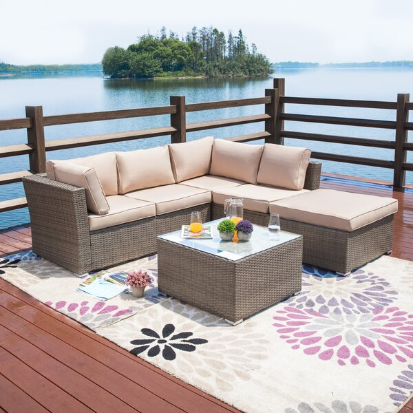 Amesbury 4 Piece Rattan Sectional Seating Group/Sofa Seating Group with Cushions by Mercury Row
