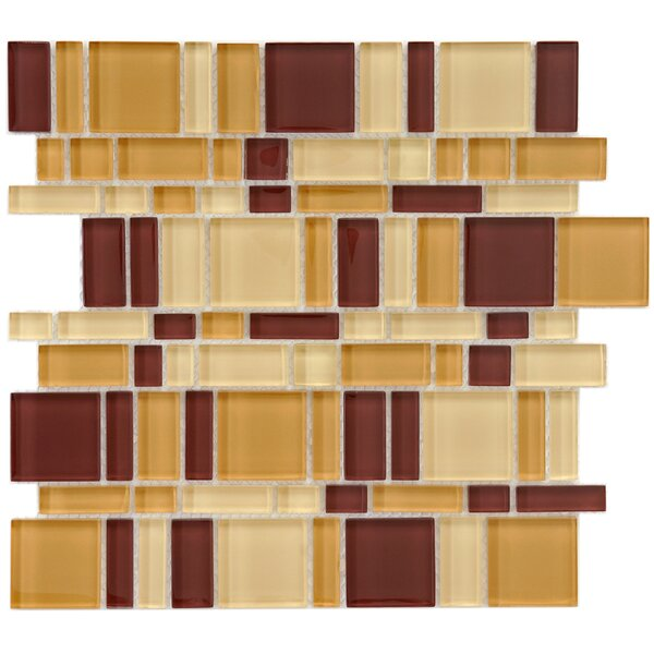 Sierra Random Sized Glass Mosaic Tile in Brown/Tan by EliteTile