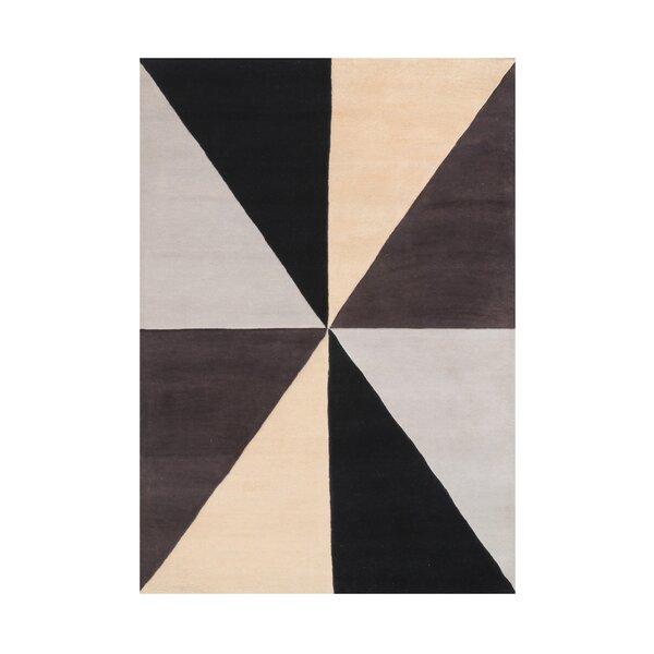 Kinner Geometric Hand-Tufted Wool Beige/Black/Brown Area Rug by Latitude Run