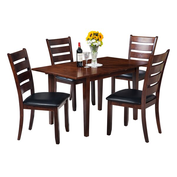 Assante Modern 5 Piece Solid Wood Dining Set with Butterfly Leaf Table by Alcott Hill