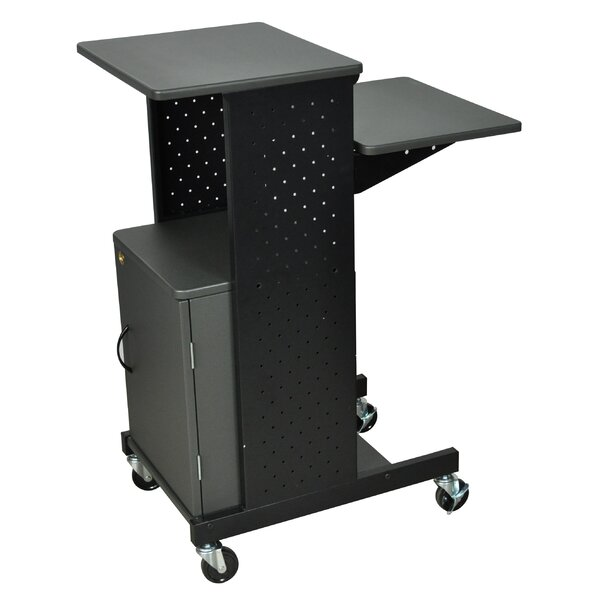 Presentation Station AV Cart with Cabinet by Luxor
