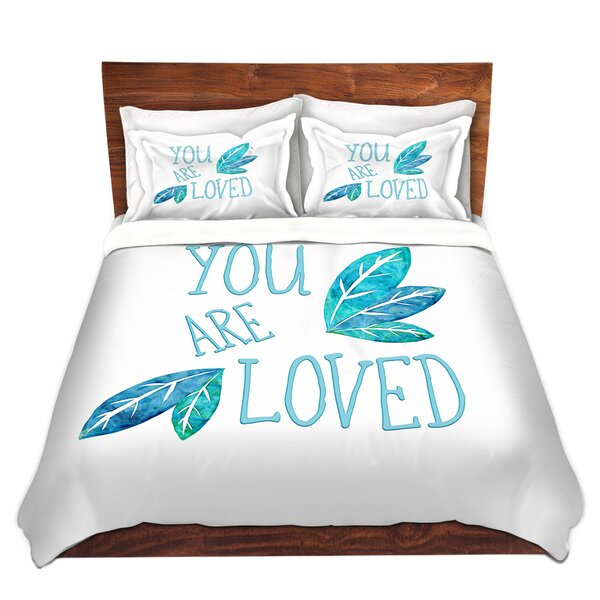 Hayle Zara Martina You Are Loved Teal Leaves Microfiber Duvet Covers by Zoomie Kids
