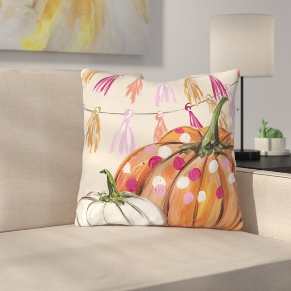 Tedford Pumpkin Tassles Throw Pillow by Latitude Run