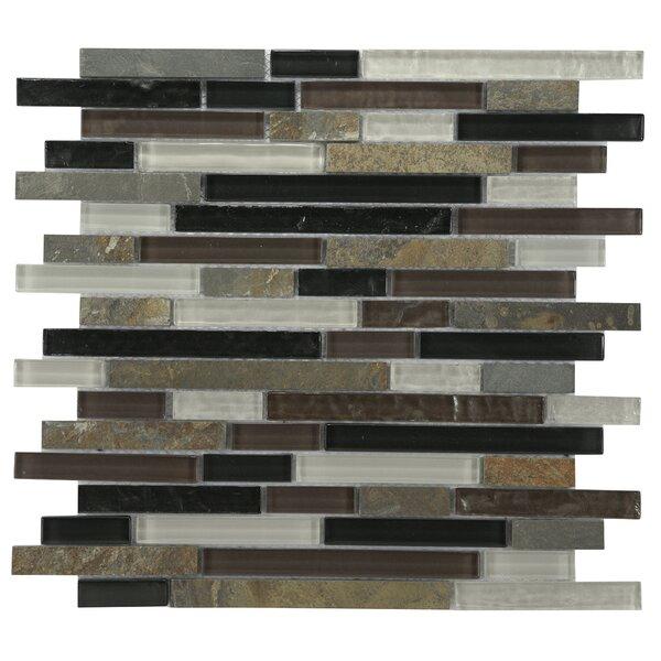 Modern Sleek Mixed Tile in Amber/Black/White by Byzantin Mosaic
