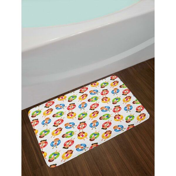 Children in the Pool on Life Buoys Swimming Summer Season Themed Cartoon Characters Bath Rug by East Urban Home