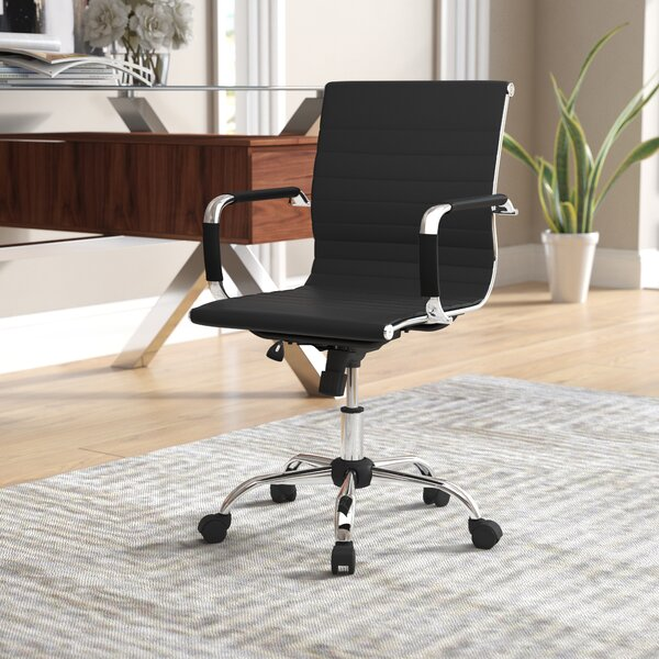Demby Mid Back Genuine Leather Desk Chair by Mercury Row