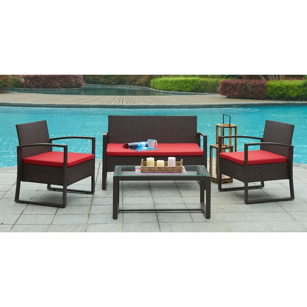Camilo 4 Piece Sofa Set with Cushions by Wade Logan