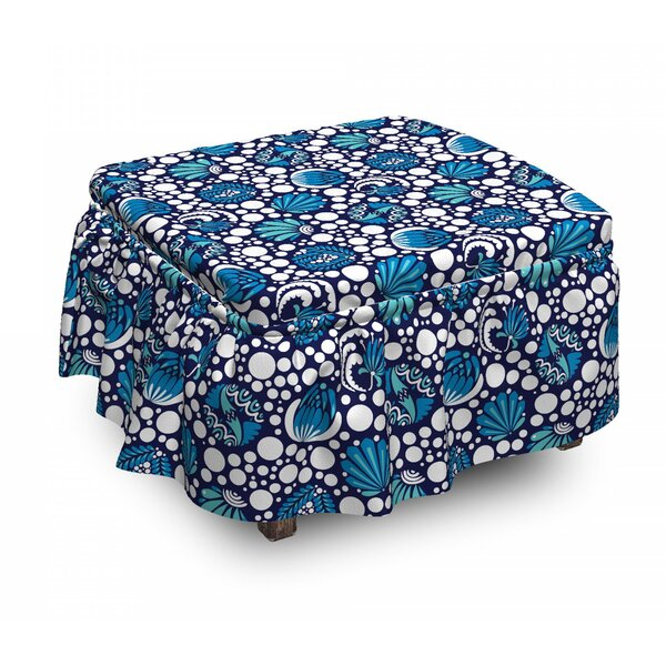 Floral Dotted Ottoman Slipcover (Set Of 2) By East Urban Home