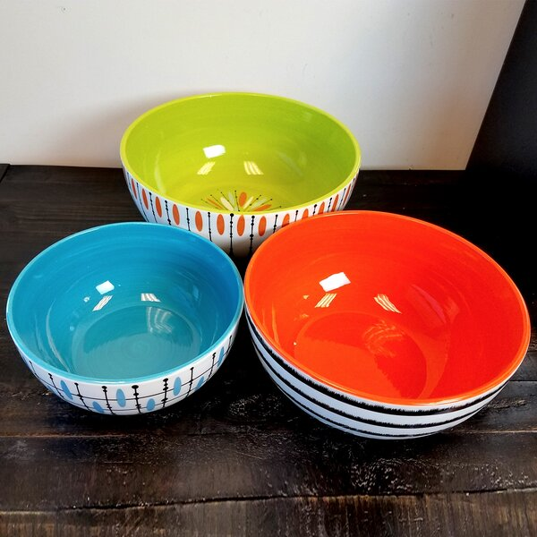 Studio California Luminescent 3 Piece Mixing Bowl Set by Gibson