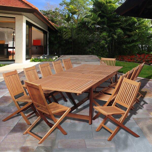 Bridgepointe Coastal Eucalyptus 13 Piece Dining Set by Rosecliff Heights