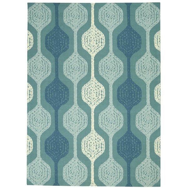 Sun-n-Shade Geometric Aqua Blue Indoor/Outdoor Area Rug