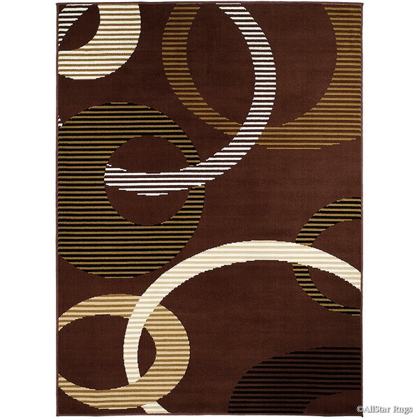 Keith High-Quality Ultra-Soft Circle Link Brown Area Rug by Winston Porter