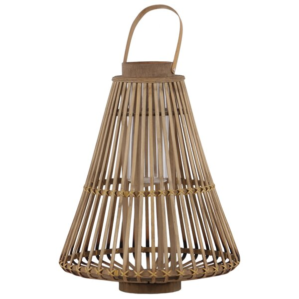 Lattice Bellied Bamboo Wood Lantern by Bay Isle Home