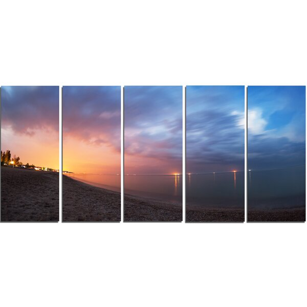 Summer Night with Blue Sky 5 Piece Photographic Print on Wrapped Canvas Set by Design Art