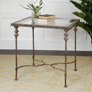 Barkhampstead Glass End Table by Fleur De Lis Living