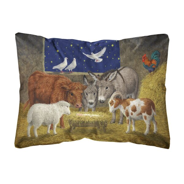Oakgrove Animals at Crib Nativity Christmas Scene Fabric Indoor/Outdoor Throw Pillow by The Holiday Aisle