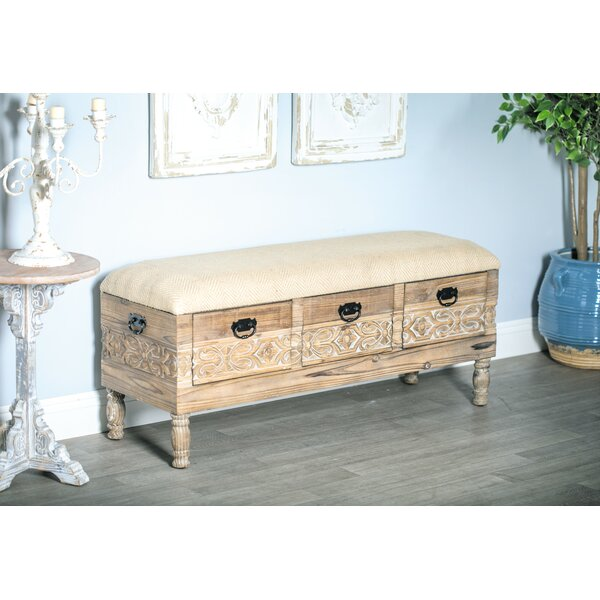 Gorgias Rustic Solid Wood 3-Drawer Storage Bench by Bungalow Rose Bungalow Rose