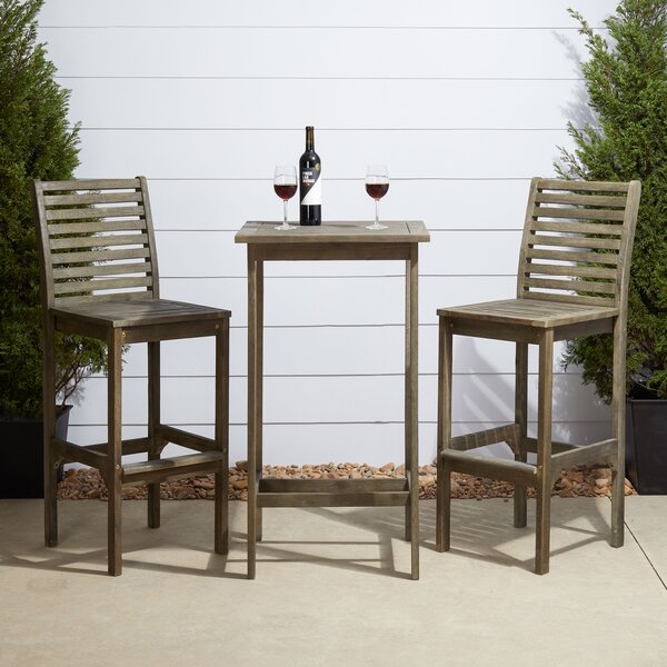 Renaissance 3 Piece Bar Height Dining Set by Vifah