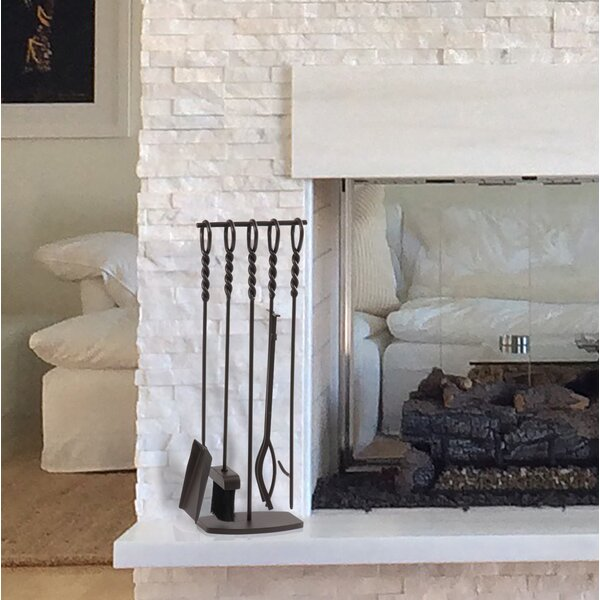 Waverly 5 Piece Steel Fireplace Tool Set by Pleasant Hearth