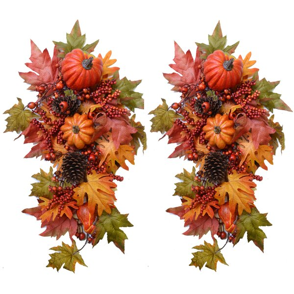 Harvest Pumpkin Gourd and Berry Swag (Set of 2) by Floral Home Decor
