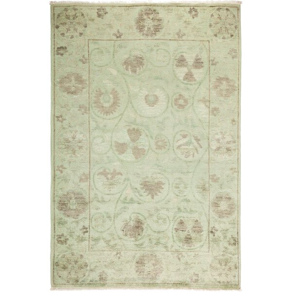 One-of-a-Kind Dewitt Hand Knotted Wool Green Area Rug by Isabelline