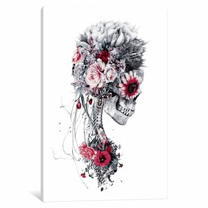 Floral Skull Series 'Skeleton Brider Graphic Art Print on Canvas by East Urban Home