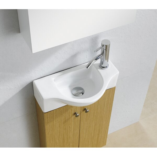 Modern Ceramic 18 Wall Mount Bathroom Sink by Fine