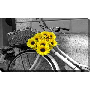 'Flowers on Bike' Photographic Print on Wrapped Canvas by Picture Perfect International