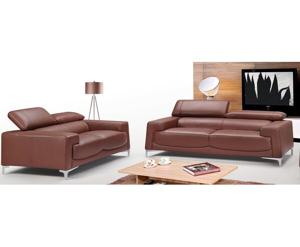 Tipton Modern Saddle 2 Piece Leather Living Room Set by Brayden Studio