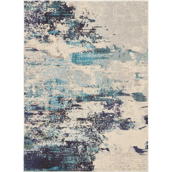 Velva Ivory/Blue Area Rug by Wrought Studio