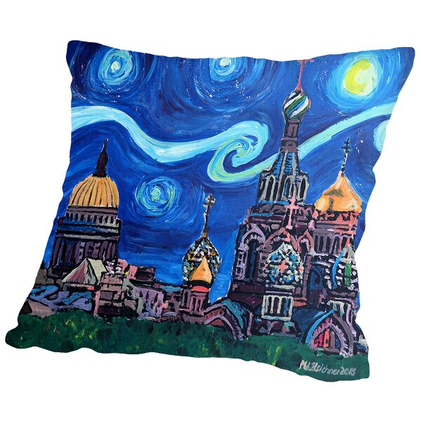 Starry Night in St Petersburg Russia Throw Pillow by Americanflat