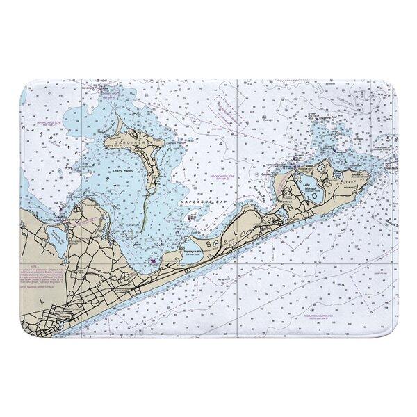 Nautical Chart Gardiners Island, Montauk NY Rectangle Memory Foam Non-Slip Bath Rug