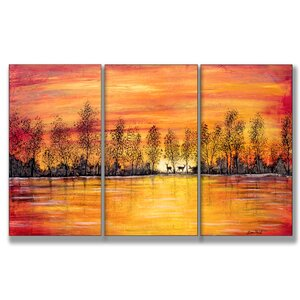 Deer at Sunset Triptych 3 Piece Painting Print Wall Plaque Set by Stupell Industries