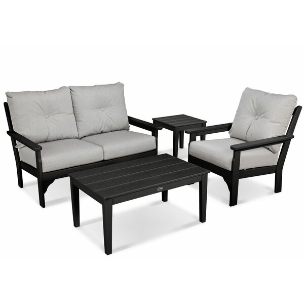 Vineyard 4 Piece Sunbrella Sofa Seating Group with Cushions by POLYWOOD®