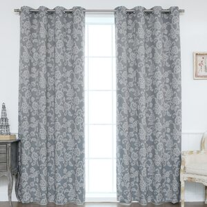 Floral Vine Paisley Blackout Thermal Grommet Curtain Panels (Set of 2)