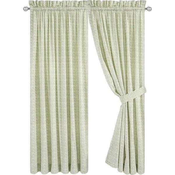 Brandon Tailored Plaid & Check Semi-Sheer Rod Pocket Curtain Panels (Set of 2) by Langley Street