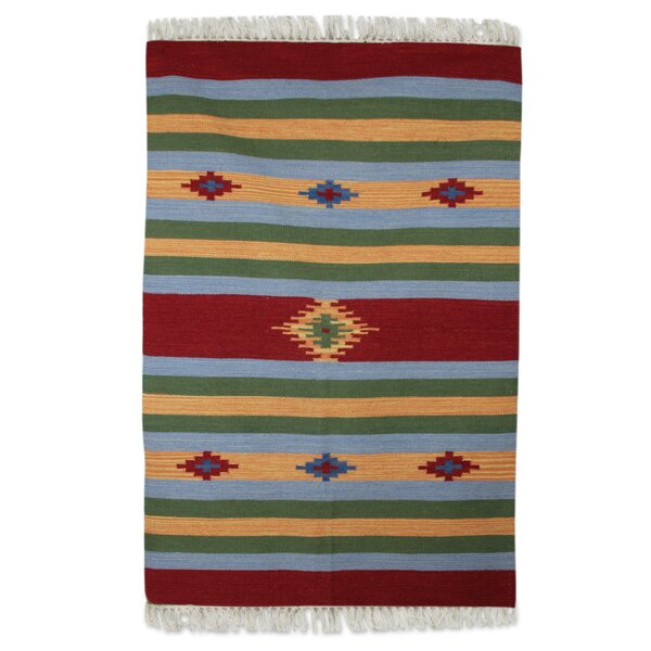 Hand Woven Green/Orange/Blue Area Rug by Novica