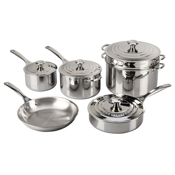 Stainless Steel 10-Piece Cookware Set by Le Creuset