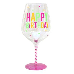 mcdermott happy birthday glass 58 oz all purpose wine glass - Happy Birthday Wine Glass