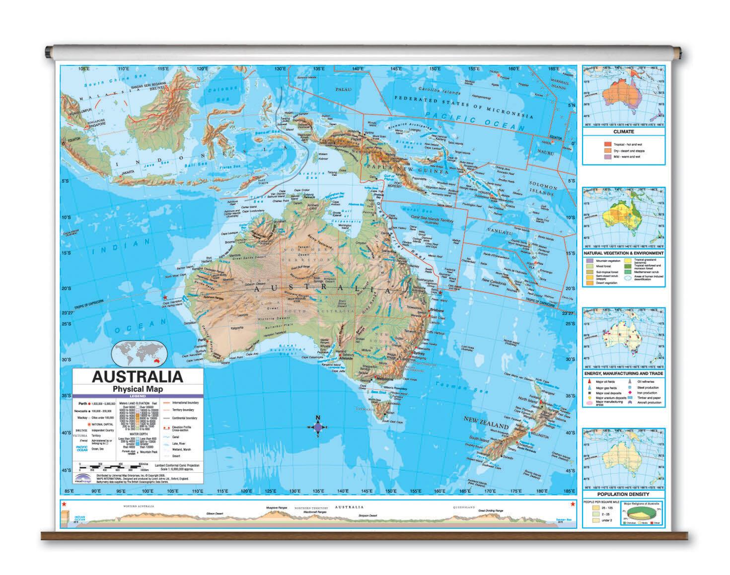 Universal Map Advanced Physical Map - Australia | Wayfair