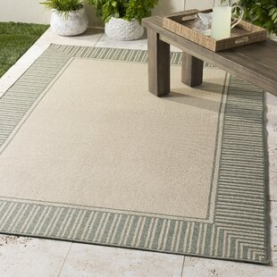 Compare prices Oliver Sea Foam Sea Foam Indoor/Outdoor Area Rug By Bay Isle Home