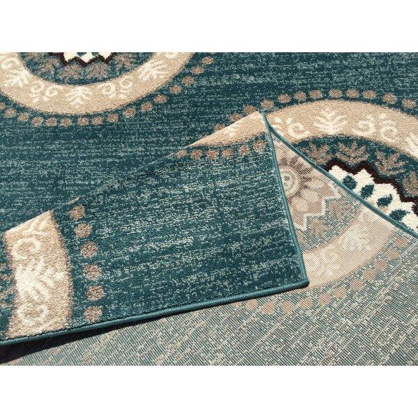 Harvin Teal Indoor/Outdoor Area Rug by Bungalow Rose